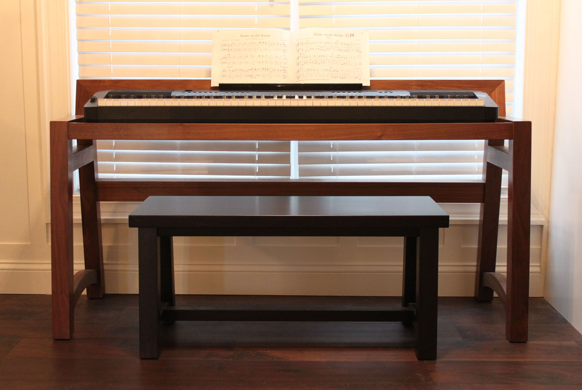 Walnut Keyboard Bench Chad Hill Furniture Designer
